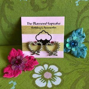 Jewelry - Silver Diamond Heart Bow Earrings